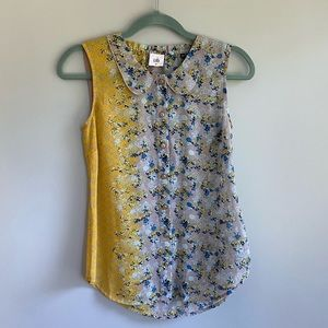 Cabi Two Toned Sheer Floral Tank Top
